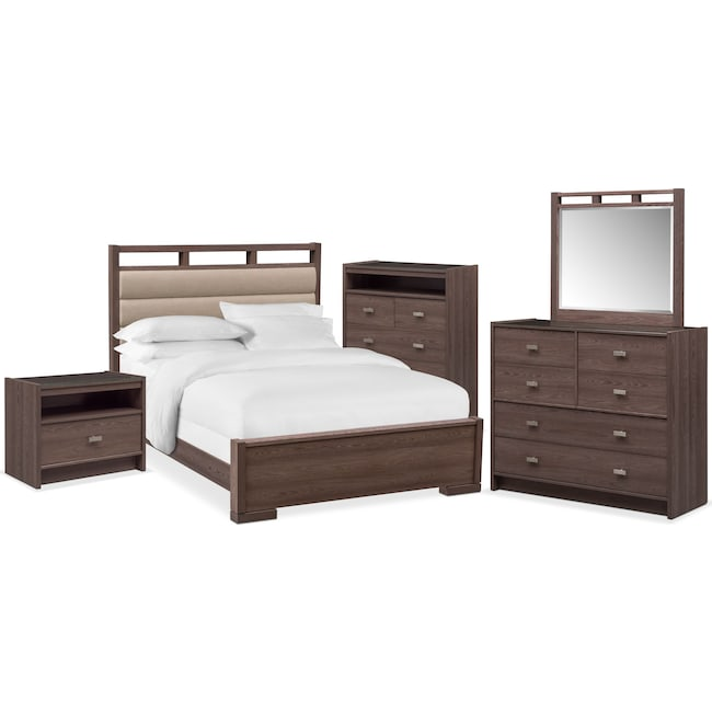 Bedroom Furniture - Britto 7-Piece Upholstered Bedroom Set with Nightstand, Chest, Dresser and Mirror