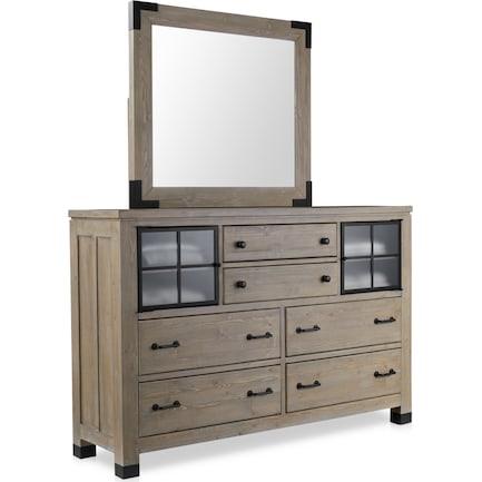 Brooke Harbor Dresser and Mirror - Natural