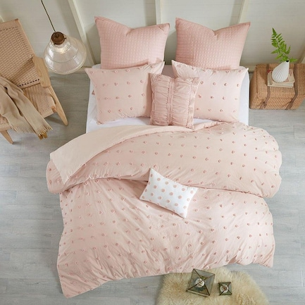 Brooklyn 5-Piece Twin Bedding Set - Blush