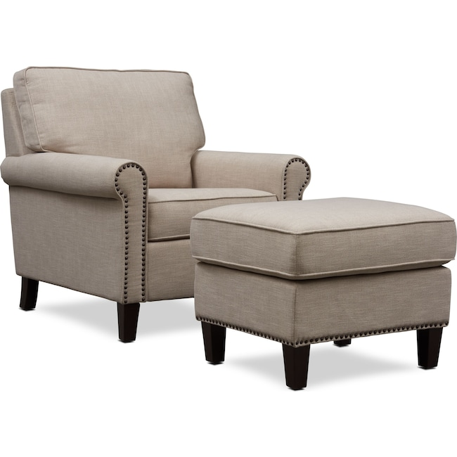Living Room Furniture - Brooks Chair with Ottoman