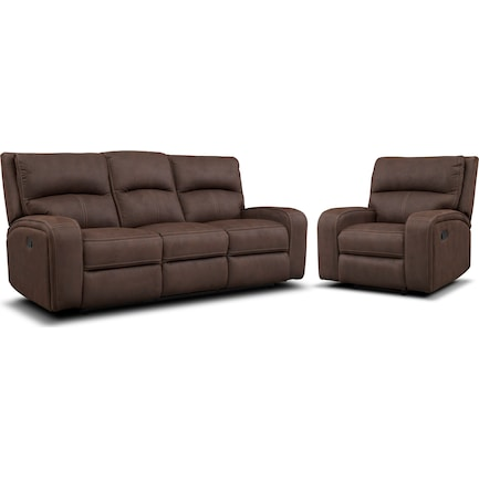 Burke Manual Reclining Sofa and Recliner Set - Brown