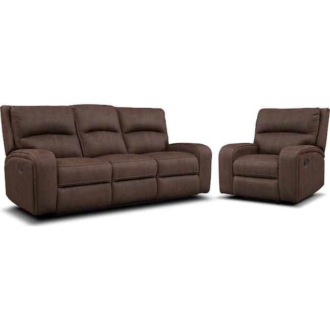 Living Room Furniture - Burke Manual Reclining Sofa and Recliner Set