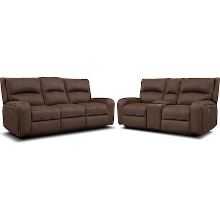 Burke Dual-Power Reclining Sofa and Loveseat with Console - Brown