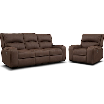 Burke Dual-Power Reclining Sofa and Recliner Set - Brown