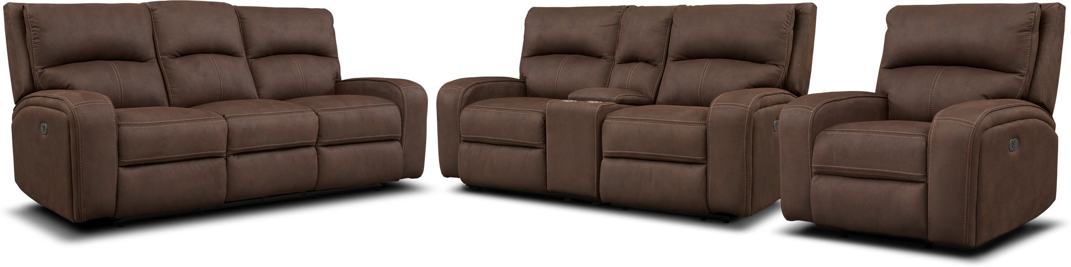 Living Room Furniture - Burke Dual-Power Reclining Sofa, Loveseat with Console and Recliner