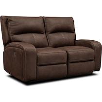 burke dark brown manual reclining loveseat