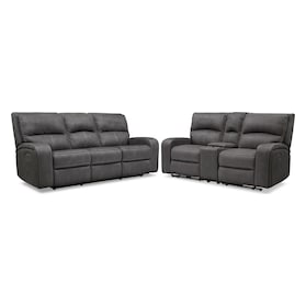Burke Dual-Power Reclining Sofa and Loveseat with Console