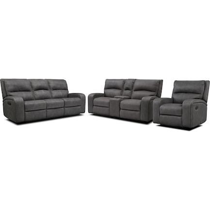 Burke Manual Reclining Sofa, Loveseat with Console and Recliner  - Charcoal
