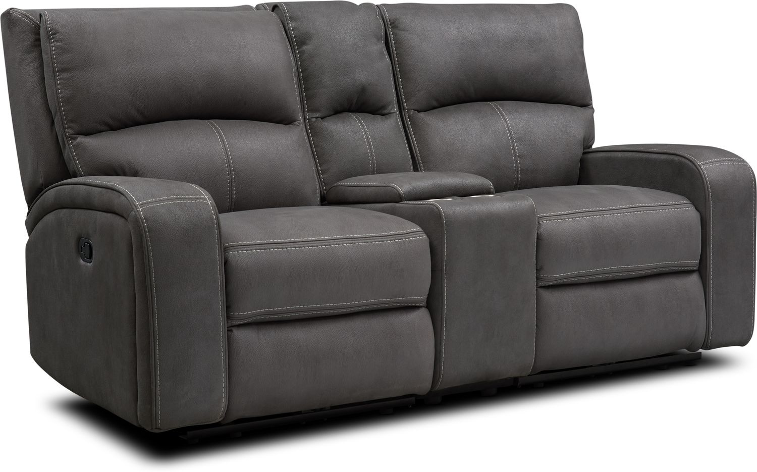 Living Room Furniture - Burke Manual Reclining Loveseat with Console
