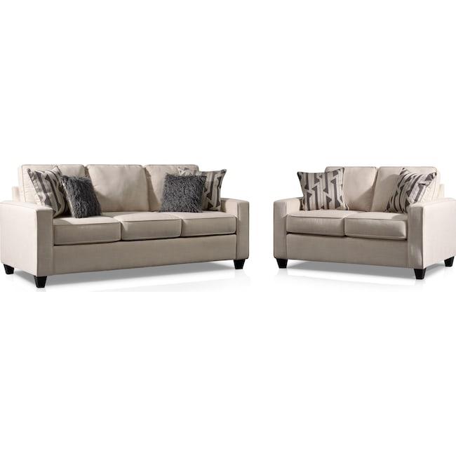 Living Room Furniture - Burton Sofa and Loveseat Set