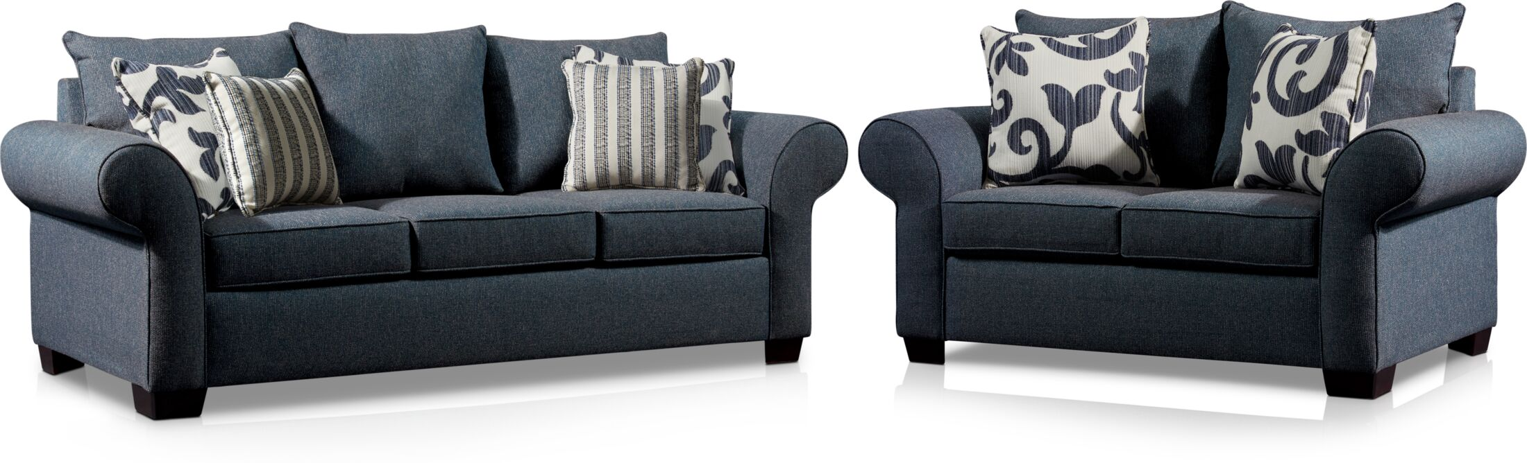 Living Room Furniture - Calloway Sofa and Loveseat Set - Blue