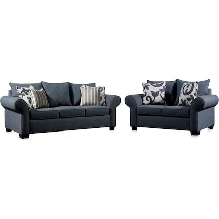 Calloway Sofa and Loveseat Set - Blue