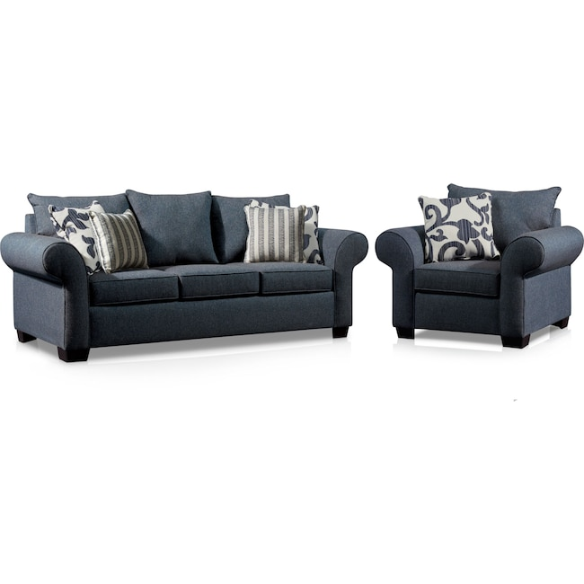 Living Room Furniture - Calloway Sofa and Chair Set - Blue