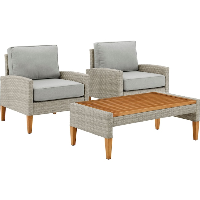 Outdoor Furniture - Capri Set of 2 Outdoor Chairs and Coffee Table
