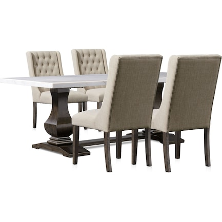 Carlisle Dining Table and 4 Upholstered Dining Chairs