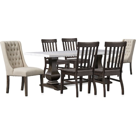 Carlisle Dining Table with 4 Dining Chairs and 2 Upholstered Dining Chairs