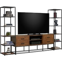 carter dark brown entertainment wall unit