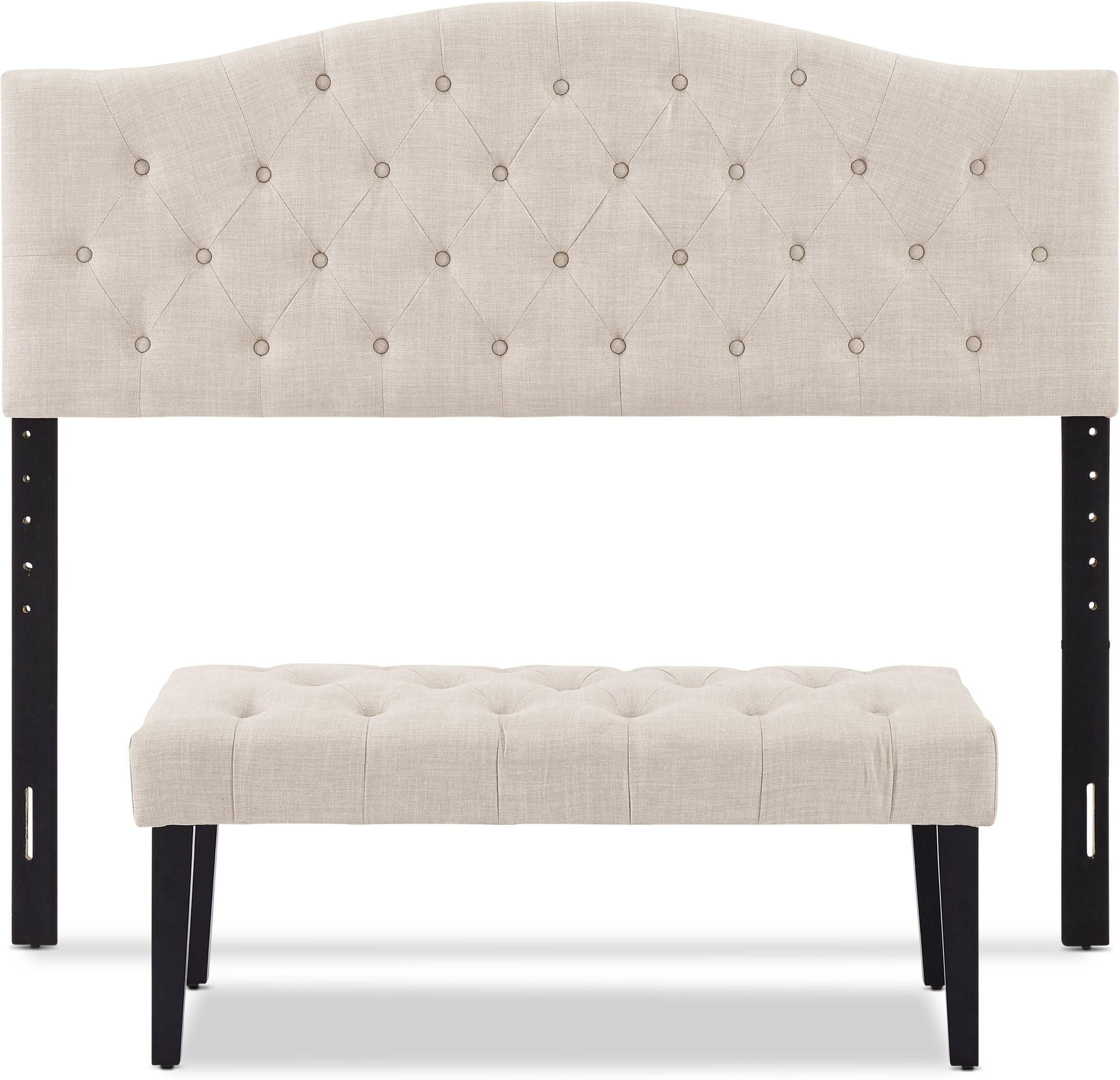 Bedroom Furniture - Cecilia Queen Upholstered Headboard and Bench Set