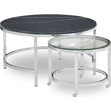 Charisma Marble Nesting Coffee Table - Black