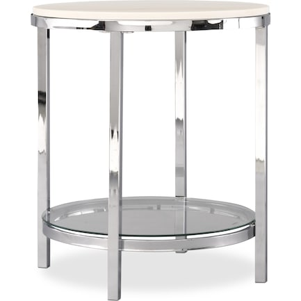 Charisma Marble End Table - Chrome and White