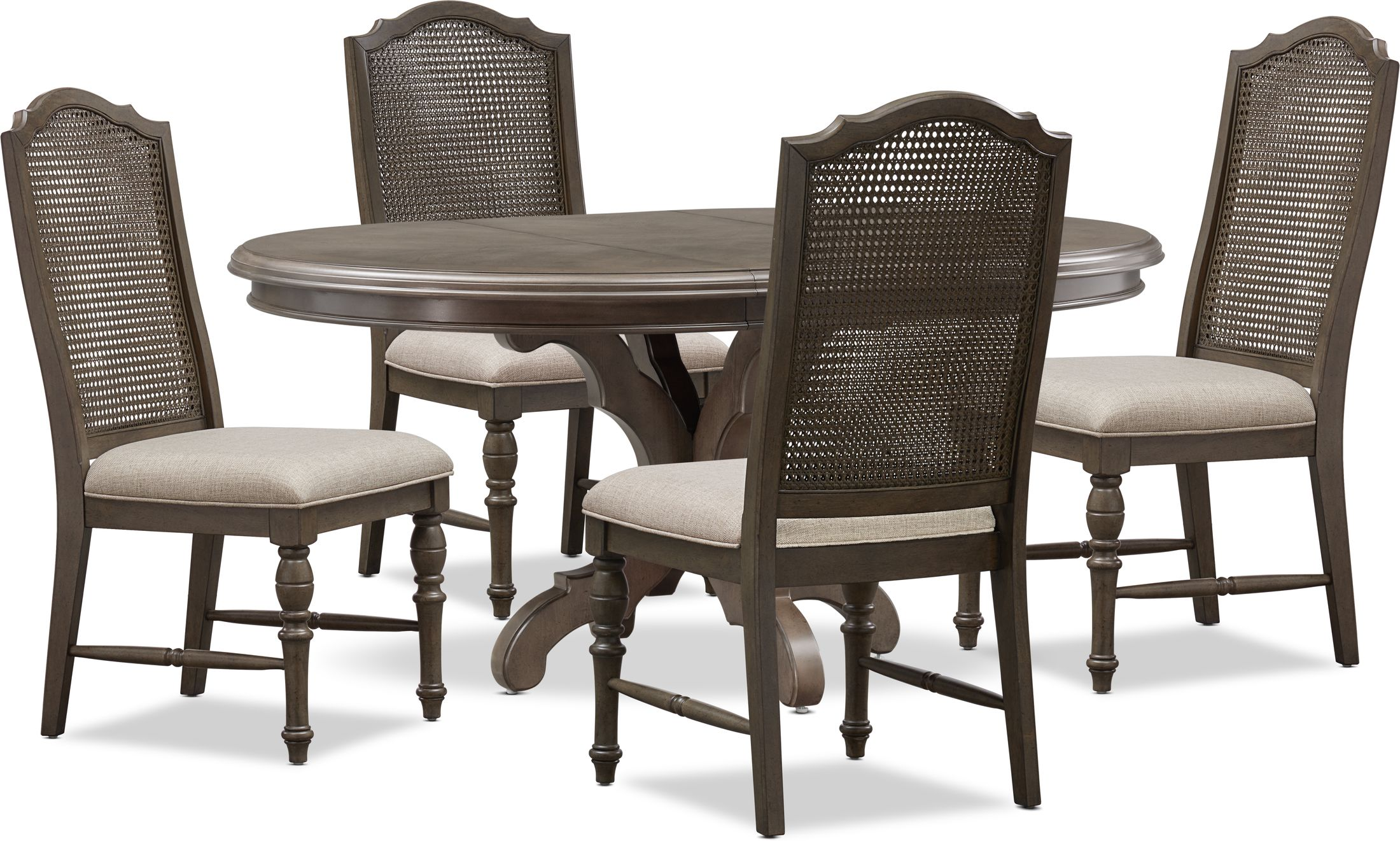 Dining Room Furniture - Charleston Round Dining Table and 4 Cane Back Dining Chairs