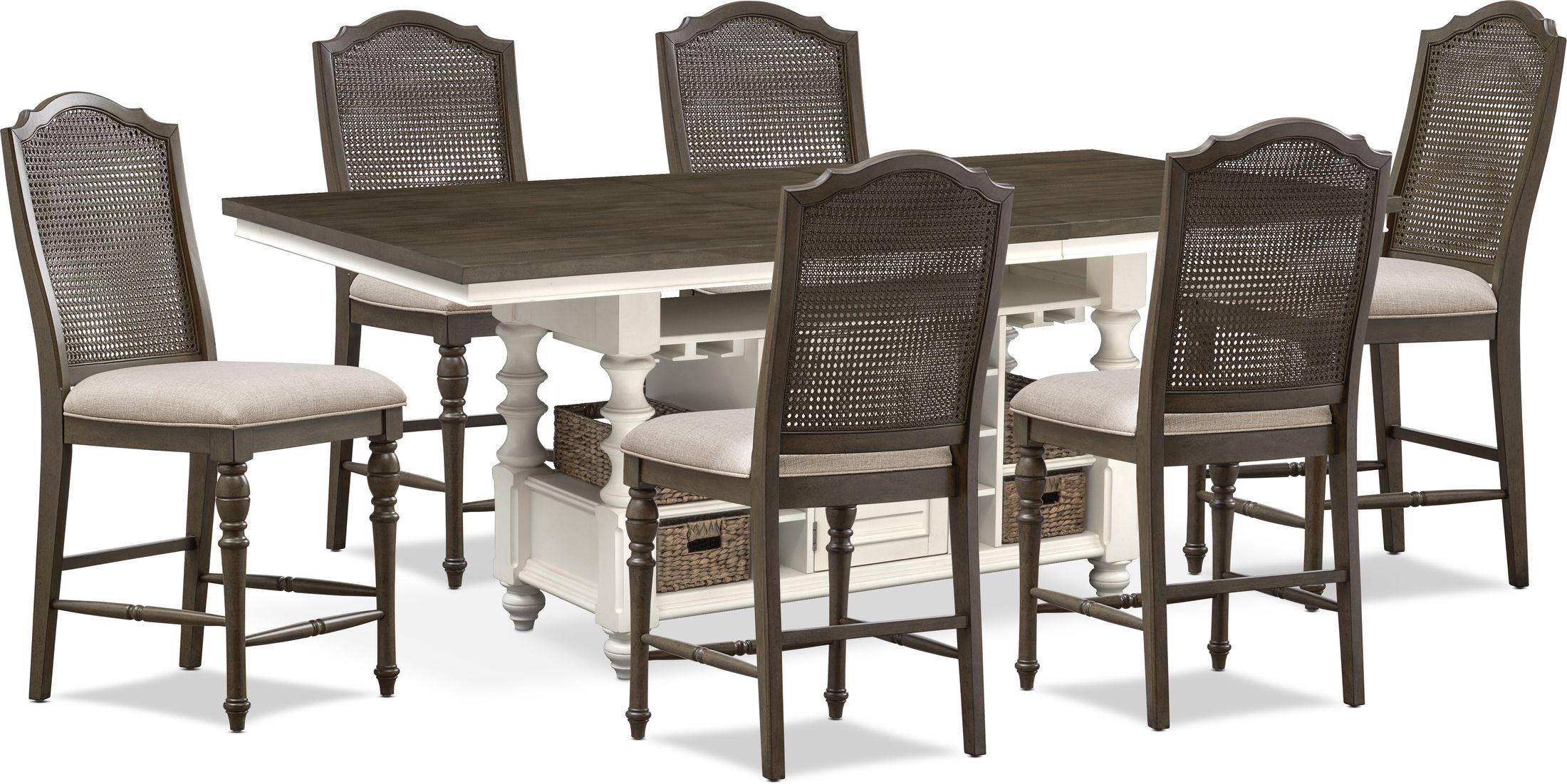 Dining Room Furniture - Charleston Counter-Height Dining Table and 6 Cane Back Stools