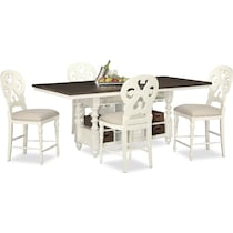 charleston vintage white  pc counter height dining room