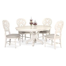 Charleston Round Dining Table and 4 Scroll-Back Side Chairs