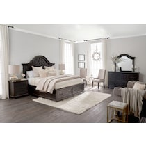 charthouse bedroom dark brown  pc queen storage bedroom