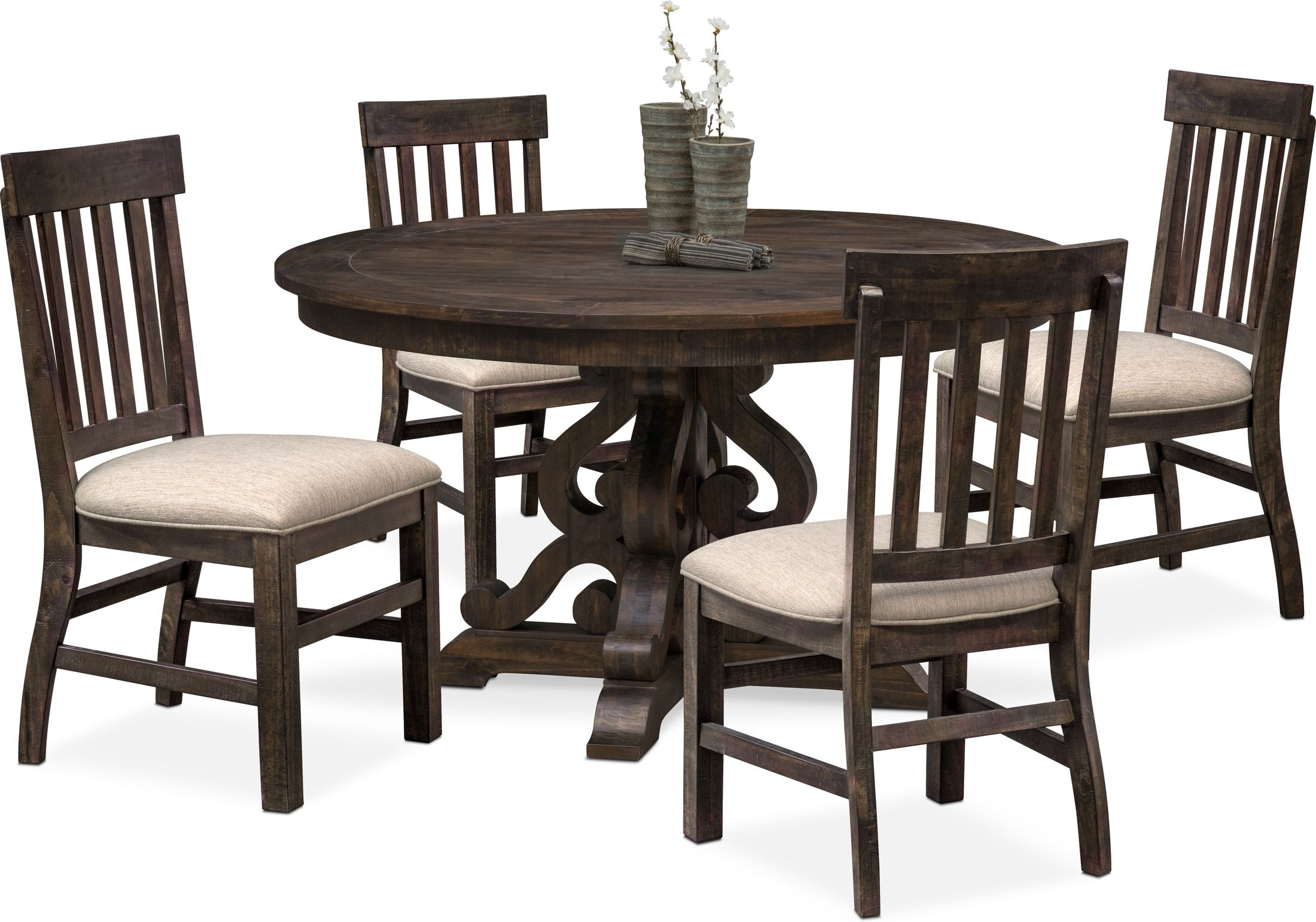 Dining Room Furniture - Charthouse Round Dining Table and 4 Side Chairs