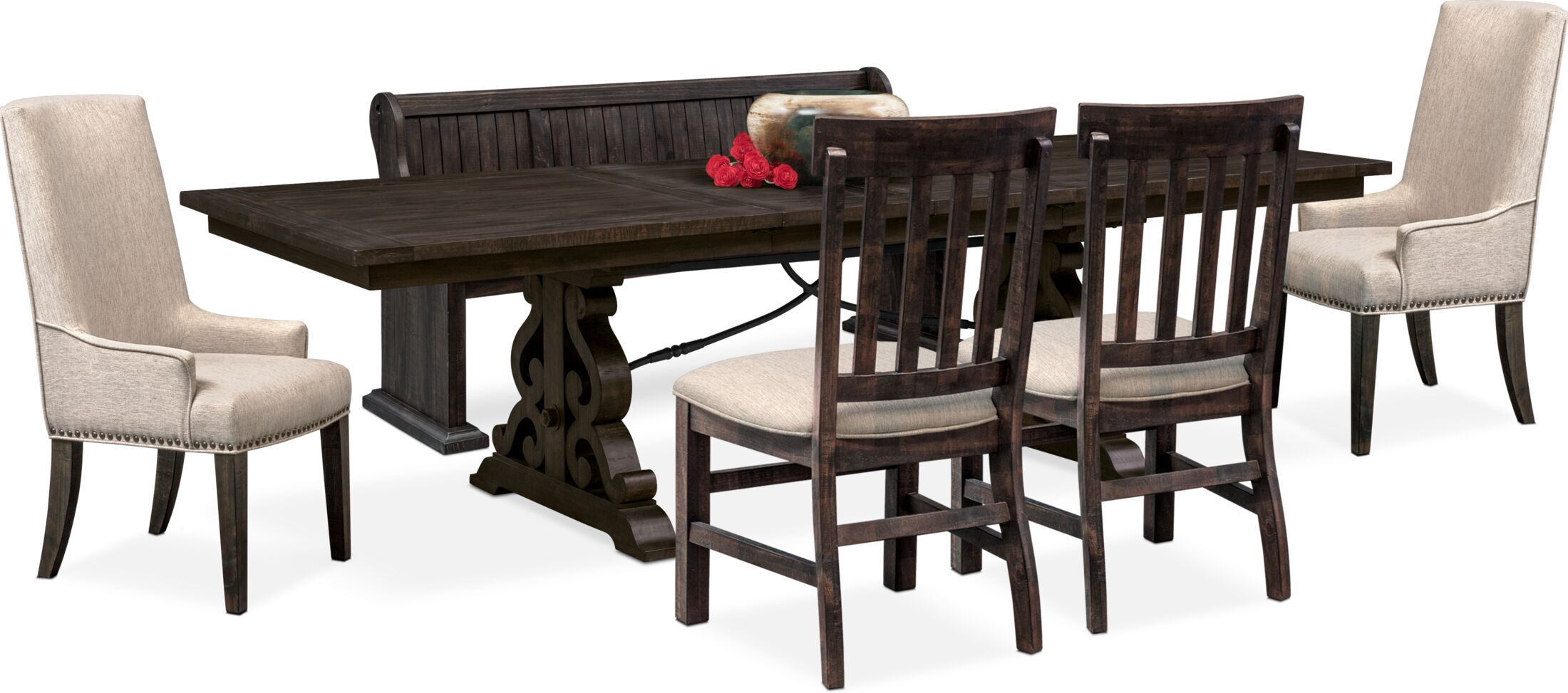 Dining Room Furniture - Charthouse Rectangular Dining Table, 2 Host Chairs, 2 Dining Chairs and Bench
