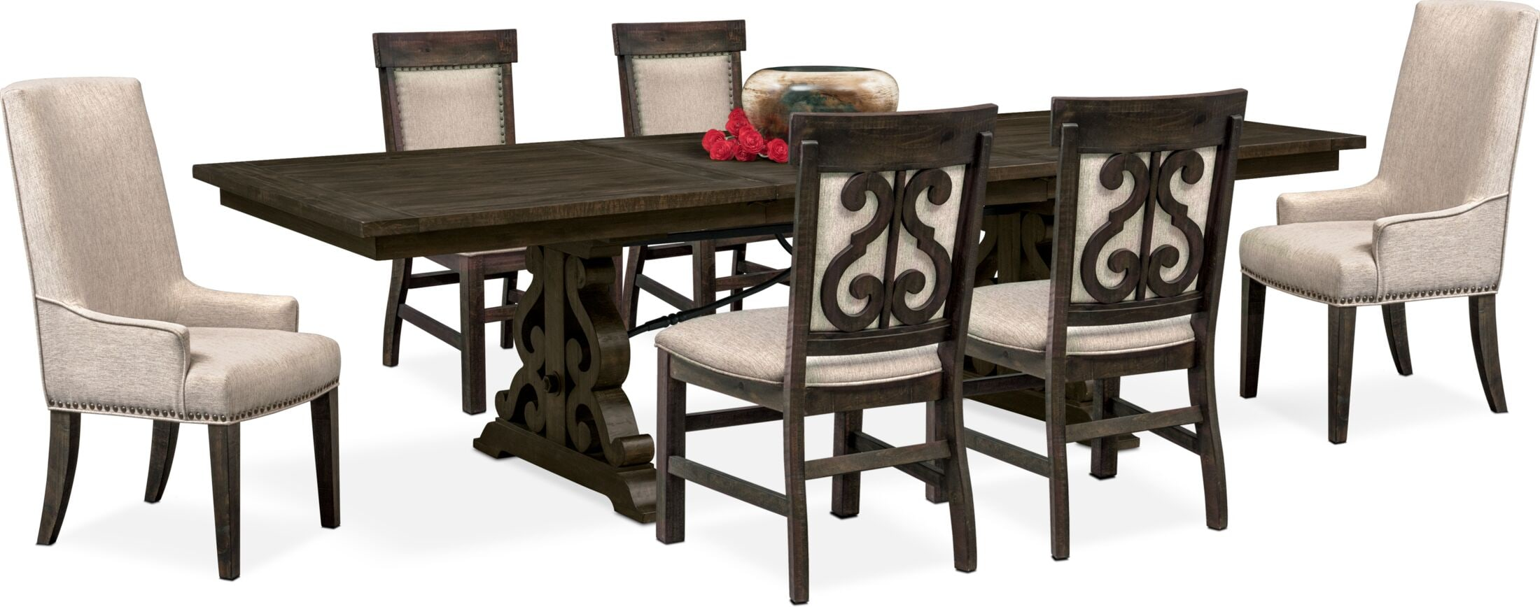 Dining Room Furniture - Charthouse Rectangular Dining Table, 2 Host Chairs and 4 Upholstered Dining Chairs