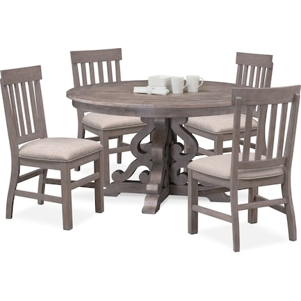 Charthouse Round Dining Table and 4 Dining Chairs - Gray