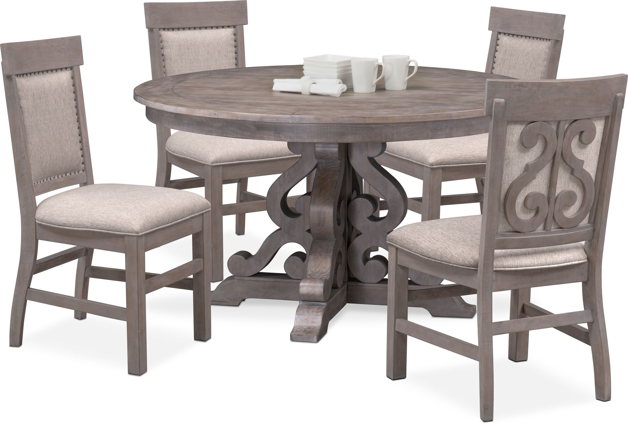 Charthouse Round Dining Table And 4 Upholstered Side Chairs Value City Furniture