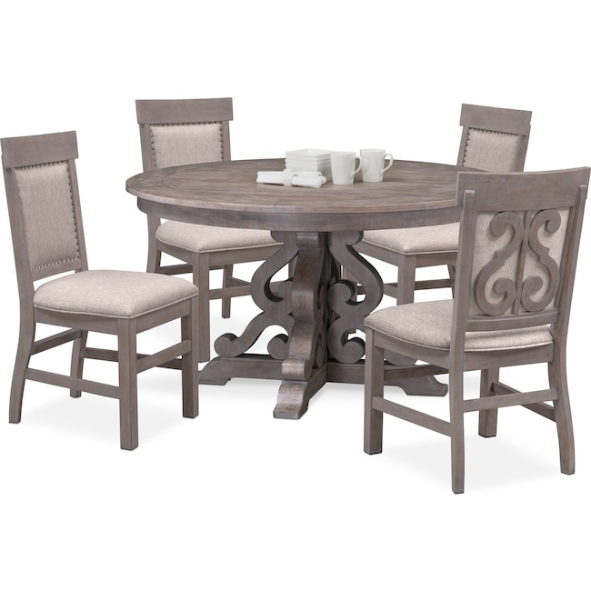 Charthouse Round Dining Table And 4 Upholstered Side Chairs Value City Furniture And Mattresses