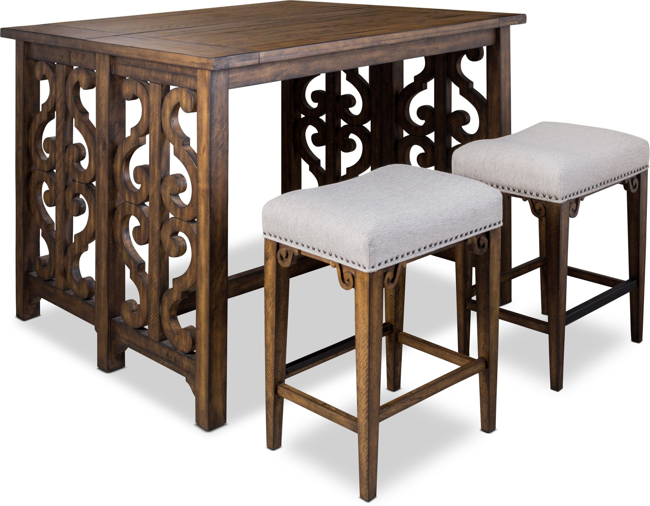 Dining Room Furniture - Charthouse Breakfast Bar and 2 Counter-Height Backless Stools
