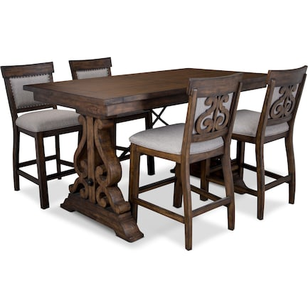 Charthouse Counter-Height Dining Table and 4 Upholstered Stools - Nutmeg