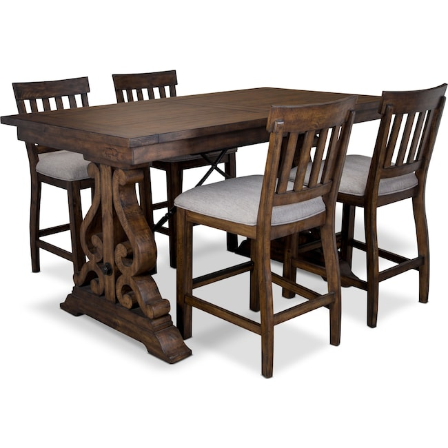 Dining Room Furniture - Charthouse Counter-Height Dining Table and 4 Stools