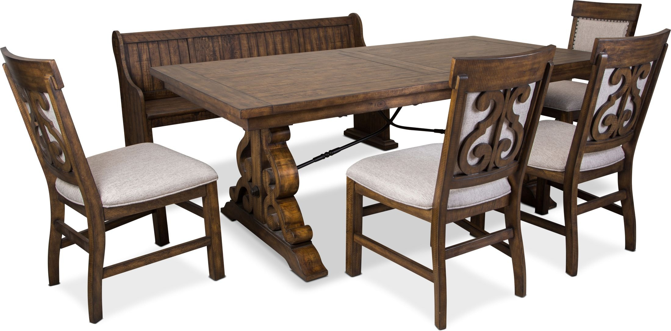 Dining Room Furniture - Charthouse Rectangular Dining Table, 4 Upholstered Side Chairs and Bench