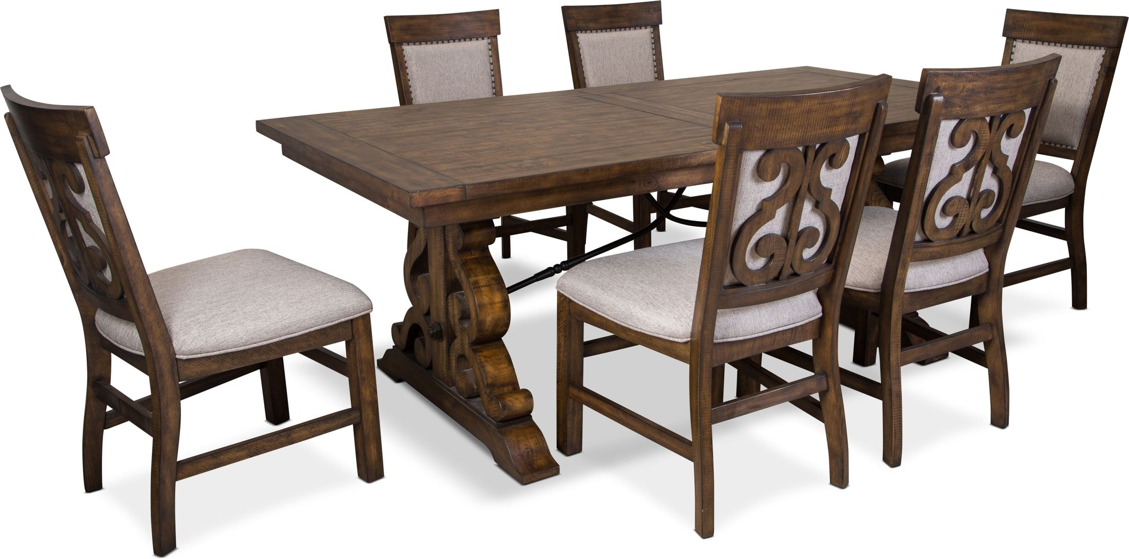 Dining Room Furniture - Charthouse Rectangular Dining Table and 6 Upholstered Side Chairs