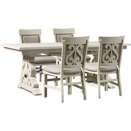 Charthouse Rectangular Dining Table and 4 Upholstered Dining Chairs - Alabaster