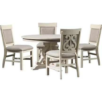 Charthouse Round Dining Table and 4 Upholstered Dining Chairs - Alabaster