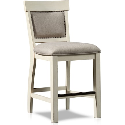 Charthouse Counter-Height Upholstered Stool - Alabaster