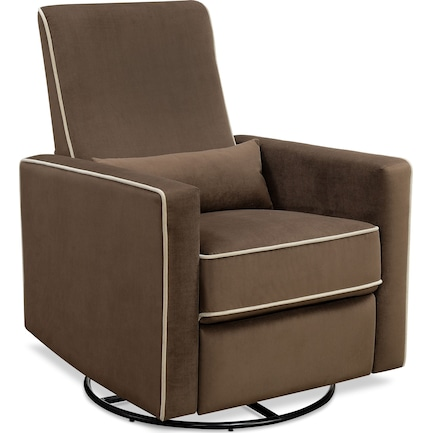 Clara Manual Reclining Swivel Chair - Brown
