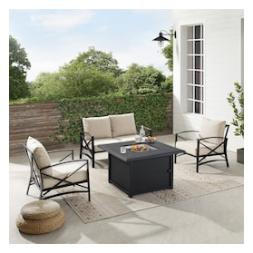 Clarion Outdoor Loveseat, Set of 2 Chairs and Fire Table
