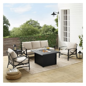 Clarion Outdoor Sofa, 2 Chairs and Fire Table Set