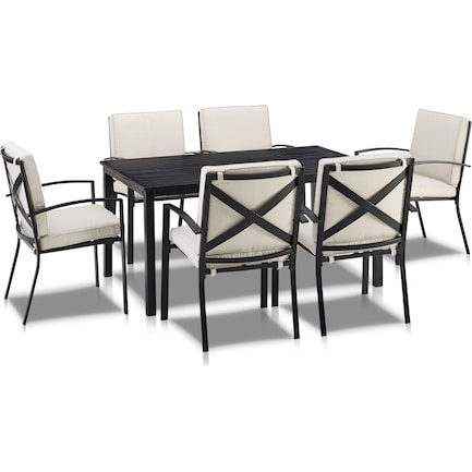 Clarion Outdoor Dining Table and 6 Dining Chairs - Oatmeal