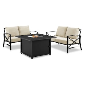 Clarion Set of 2 Outdoor Loveseats and Fire Table