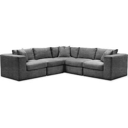 Collin Hybrid Comfort 5-Piece Sectional - Charcoal