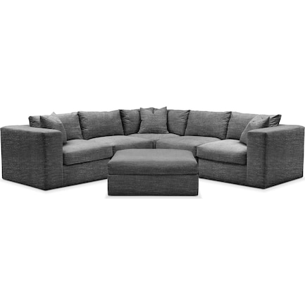 Collin Hybrid Comfort 5-Piece Sectional and Ottoman- Charcoal